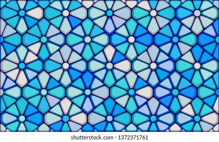 Vector Illustration of abstract vitrage background. Decorative stained glass pattern for design poster, banner, cover. Vintage window texture.