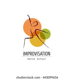 Vector illustration abstract woman icon in dance. Dance school, dance studio logo design vector template.