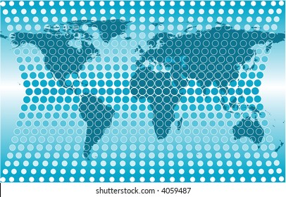 a vector illustration of a abstract world map with a grid background made from circles