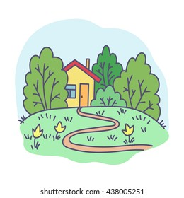 vector, illustration, abstraction, nature, house, footpath, garden, holiday, flowers, design element, summer