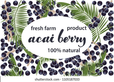 vector illustration of acai berry and leaf design with lettering acai berry background white and berry and text fresh farm product 100% natural EPS10