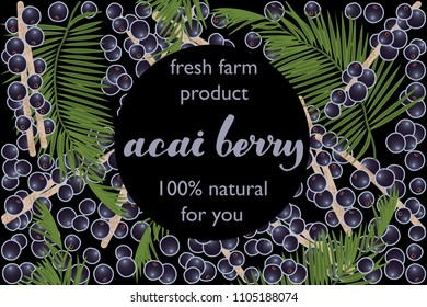 vector illustration of acai berry and leaf design with lettering acai berry background black and berry and text fresh farm product 100% natural for you EPS10