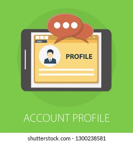 "Vector illustration of account & profile account or software solution concept with ""account profile"" user and media concept."