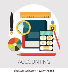 "Vector illustration of Accounting or investing concept with ""Accounting"" financial investment icons."