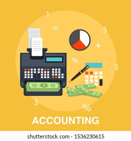 "Vector illustration of Accounting or investing concept with ""Accounting"" financial investment icons"