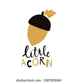 vector illustration of an acorn and hand lettering text