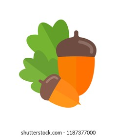 Vector Illustration of Acorn. Simple flat icon of nut on a white background.
