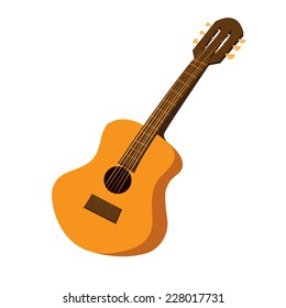 Vector illustration of an acoustic guitar in cartoon style