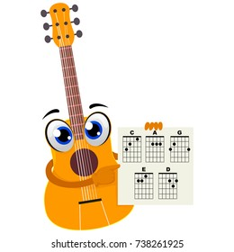 Vector Illustration of Acoustic Guitar holding a Paper with Chords