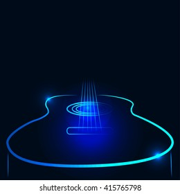 Vector illustration of an acoustic guitar in neon