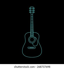 Vector illustration of acoustic guitar. Poster for a concert or nightclub.