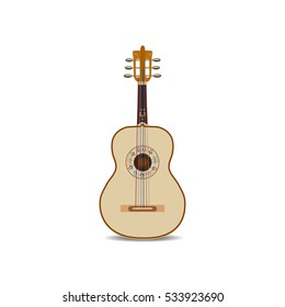 Vector illustration of acoustic mexican guitar isolated on white background. String musical instrument in flat style.