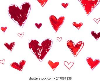 Vector illustration acrylic hearts isolated on white background