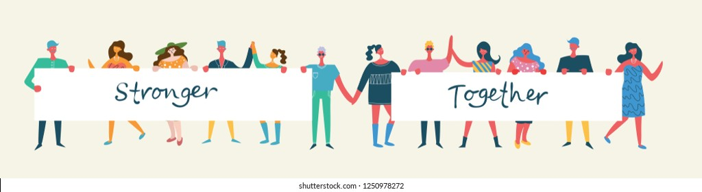Vector illustration of Activists men and women holding hands together in the flat style. Concept illustration with colored characters. Stronger together