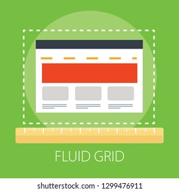"Vector illustration of adaptive & adjustable concept with ""fluid grid"" layout icon. page symbol."