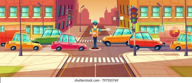 Vector illustration of adjusting city crossroads in rush hour, traffic jam, transport moving, vehicles by crossing guard. Urban highway regulation, crosswalk with traffic lights, machines