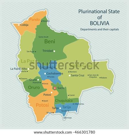 Vector Illustration Administrative Map Bolivia Capital Stock ...