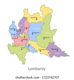 Vector illustration: administrative map of Lombardy with the names of cities and provinces.