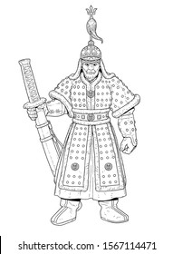 Vector illustration of admiral Yi Sun-shin. He was a Korean naval commander famed for his victories against the Japanese navy during the Imjin war in the Joseon Dynasty.