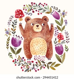 Vector illustration: adorable bear in watercolor technique. Beautiful card with lovely cute little bear.