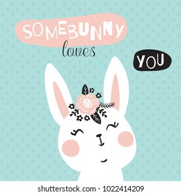 vector illustration of an adorable bunny and funny somebunny loves you text