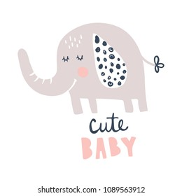 vector illustration, adorable elephant and cute baby hand lettering text