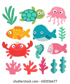 Vector illustration with adorable fish, jelly, crab, seahorse, turtle and whale