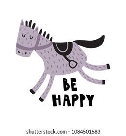 vector illustration, adorable horse with saddle, hand lettering text be happy