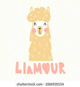 vector illustration, adorable llama, hand lettering text. llamour is a pun, combination of llama and french amour (love) words
