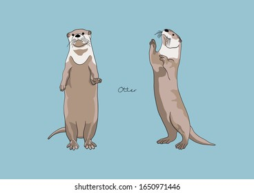 Vector Illustration of adorable Otter
