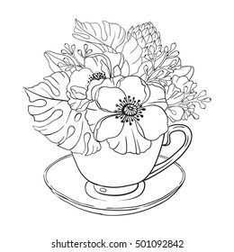 Flowers Coloring Page Images Stock Photos Vectors