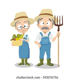 Vector Illustration of adult gardener family and landscape with gardening concept Garden landscape with age people, various plants, trees in flat style