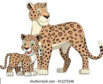 Vector illustration, adult leopard and cub leopard, white background