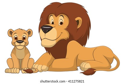 Vector illustration adult lion and baby lion on a white background