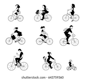 A vector illustration of adults and children ride bike on the street. People on bike in flat style isolated on white background. Character set.
