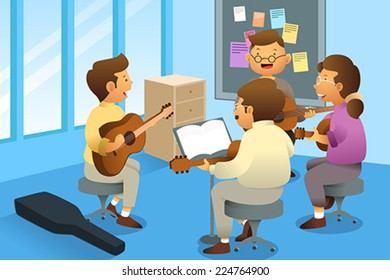A vector illustration of adults in a guitar class