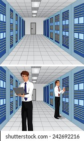 Vector illustration of an advanced server room with and without expert IT professionals.