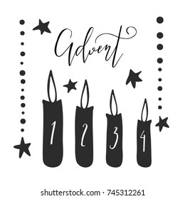 Vector illustration of Advent candles, perfect for Christmas decorations