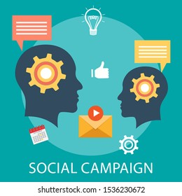 "Vector illustration of advertising & strategy concept with ""social campaign"" advertisement and social icon."