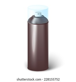 Vector illustration of aerosol spray can with cap isolated