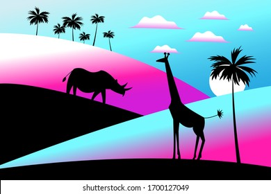 Vector illustration of Africa with animal silhouettes and palm trees.