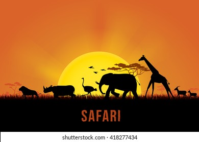 Vector illustration of Africa landscape with wildlife and sunset background. Safari theme