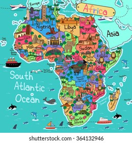 A vector illustration of Africa map in cartoon style