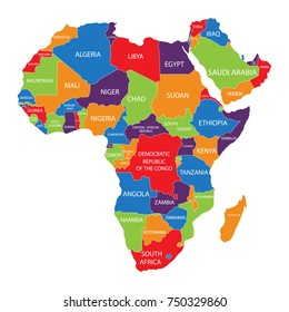 Vector illustration Africa map with countries names isolated on white background. African continent icon.