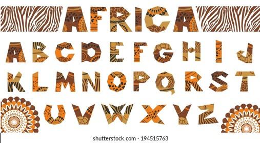 Vektorgrafik des afrikanischen Alphabets