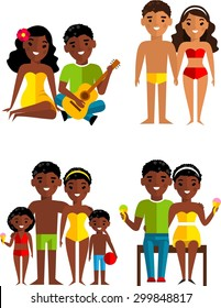 Vector illustration of african american couple, family on a beach Set of african american couple in love, family with children on the vacation