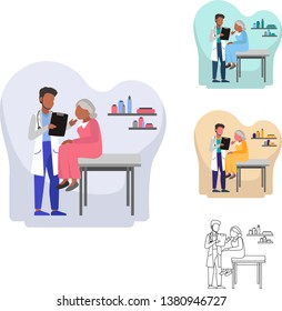 Vector Illustration of African American Orthopedic doctors doing medical assessment on a female elder patient. It'll be suitable for banner, homepage, infographic, poster, flyer, website, etc