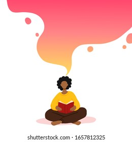 Vector illustration of african american woman sitting and reading book, dreaming. Motivational literature fan. Colorful gradient concept illustration. Read more books lettering.