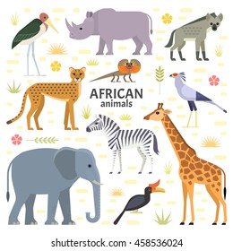 Vector illustration of African animals and birds: elephant, rhino, giraffe, cheetah, zebra, hyena, secretarybird, marabou and frilled-neck lizard, isolated on transparent background.
