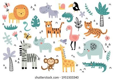 vector illustration, african animals for kids, children clipart, tropical fauna - Shutterstock ID 1951503340